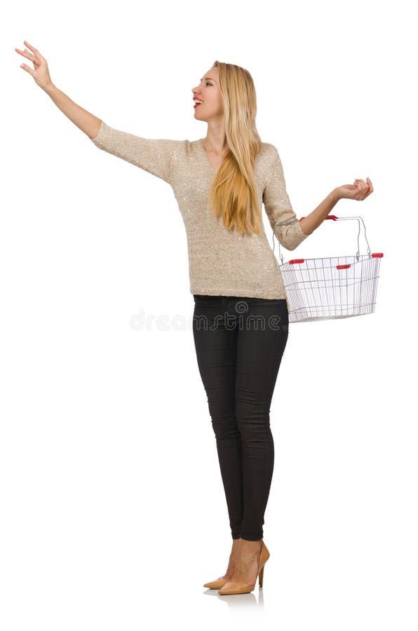 Vrouw doen die in geïsoleerde supermarkt winkelen stock foto