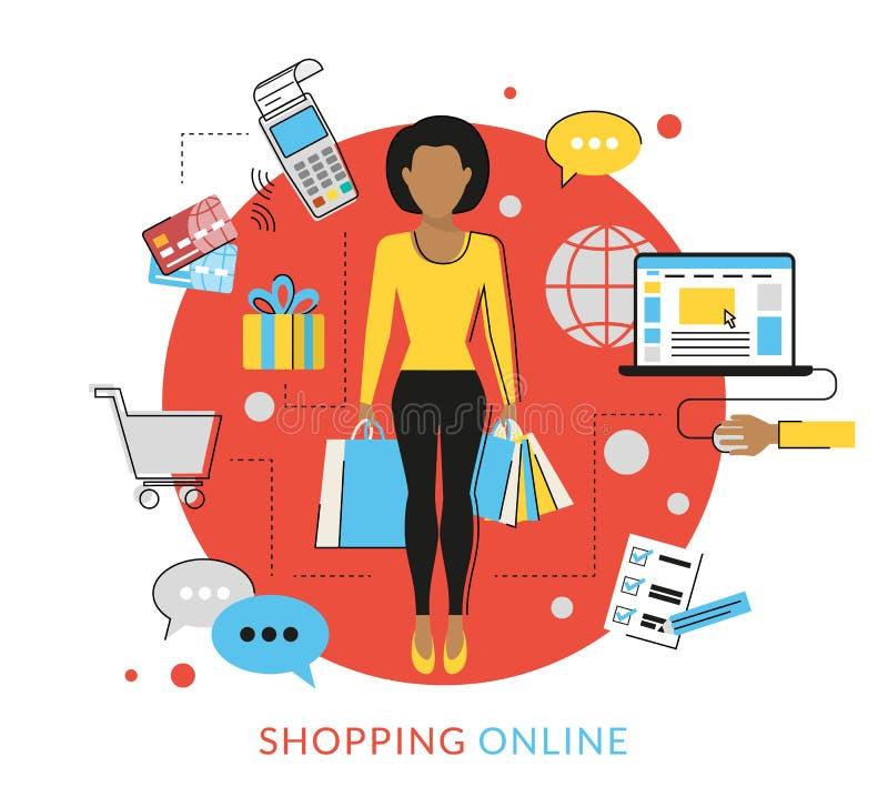 Vrouw doen die online winkelen vector illustratie