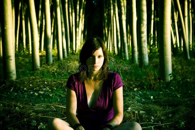 Vrouw in donker bos royalty-vrije stock foto