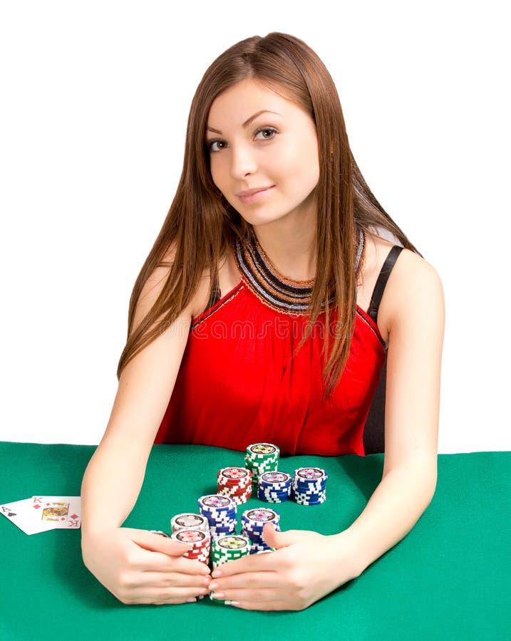 Vrouw in een casino stock afbeeldingen
