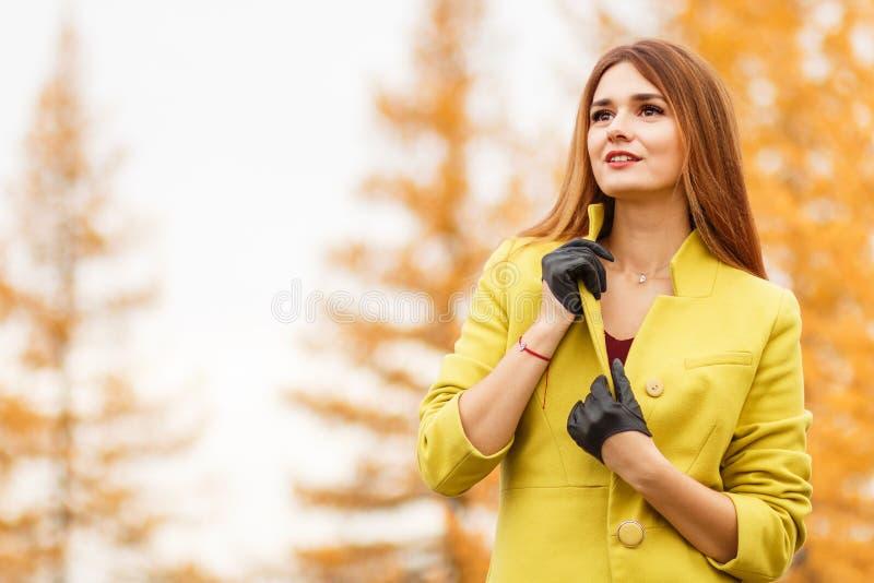 Vrouw in een de herfstbos stock foto's