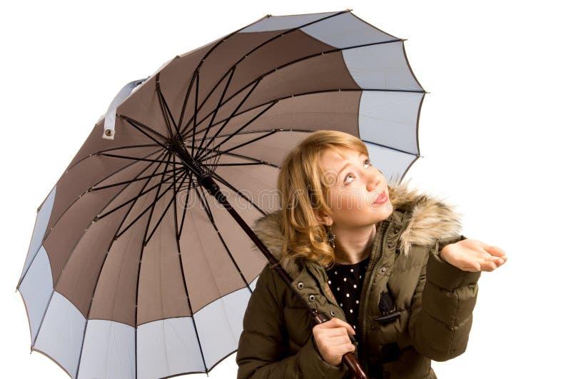 Vrouw in een een de winterjasje en paraplu royalty-vrije stock fotografie