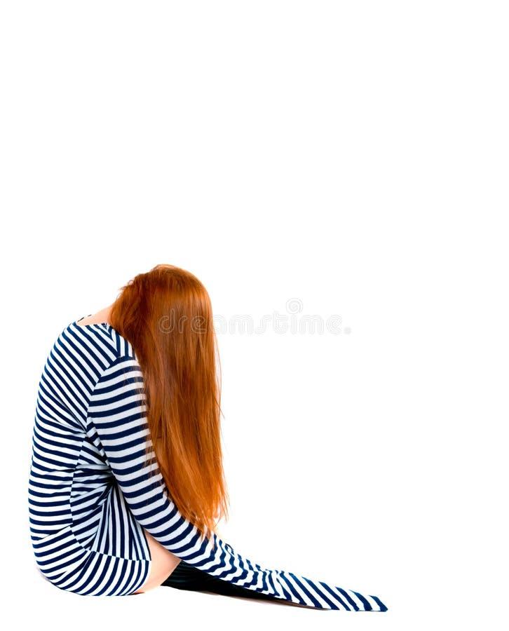 Vrouw in een gestript vest. royalty-vrije stock foto
