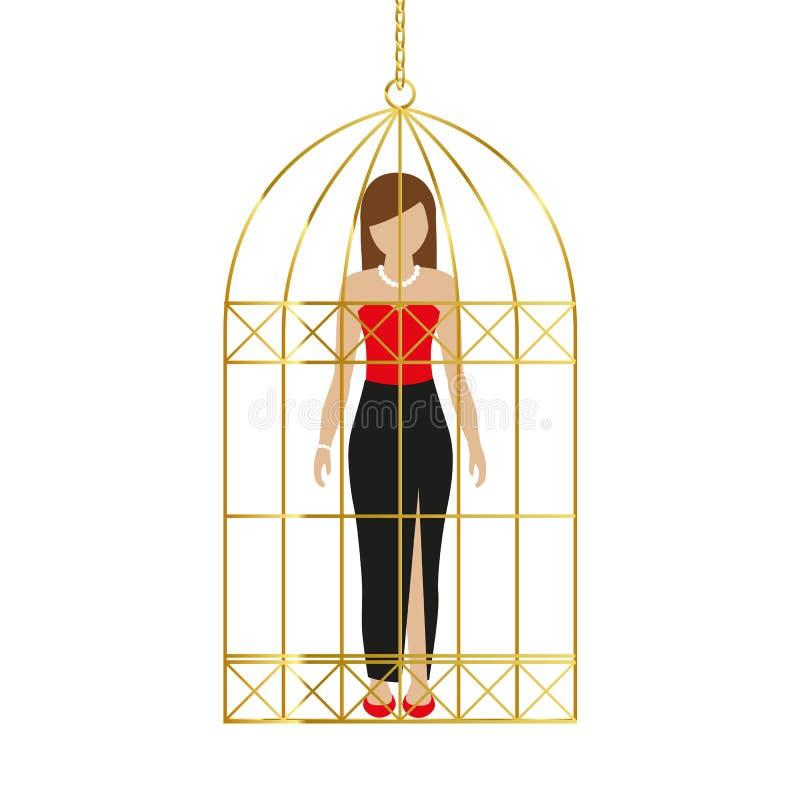 Vrouw in een gouden kooi royalty-vrije illustratie