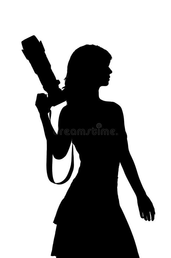 Vrouw met camerasilhouet royalty-vrije illustratie