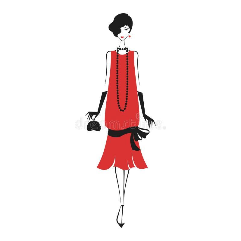 Vrouw in een kleding van 20 ` s vector illustratie