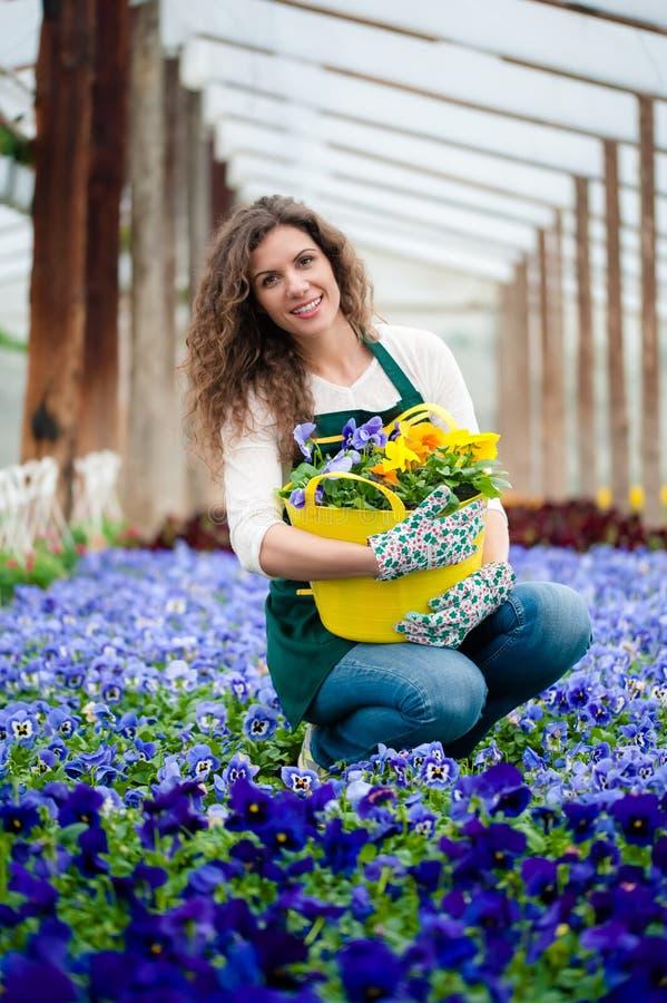Vrouw in een kleurrijke bloemtuin in een serre royalty-vrije stock afbeelding