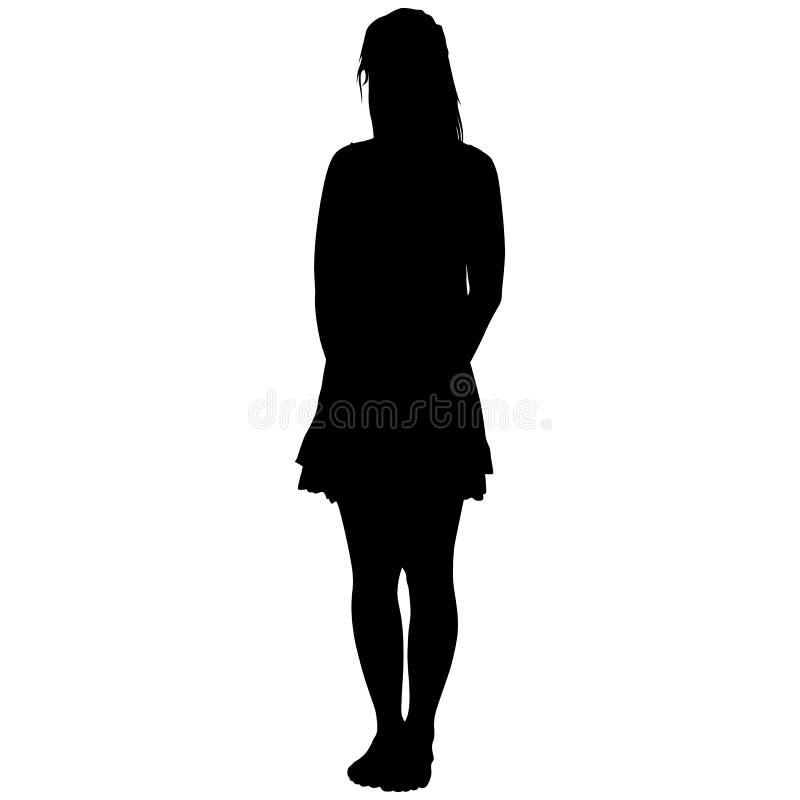 Vrouw in een korte rok van blootvoets vector illustratie