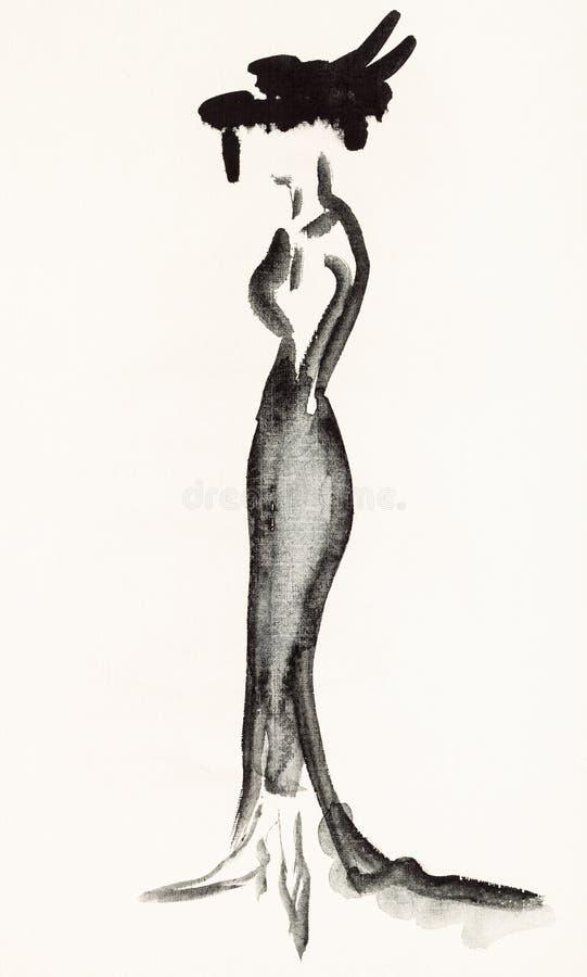 Vrouw in een lange zwarte avondjurk royalty-vrije illustratie