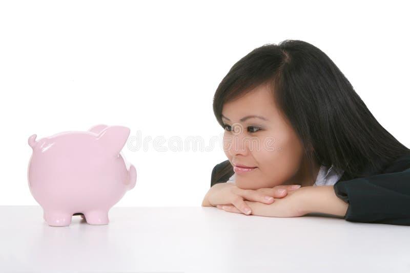 Vrouw en Bank royalty-vrije stock fotografie