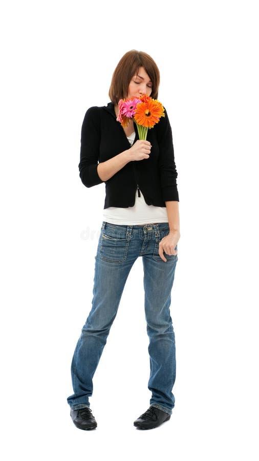 Vrouw en bloemen royalty-vrije stock foto's