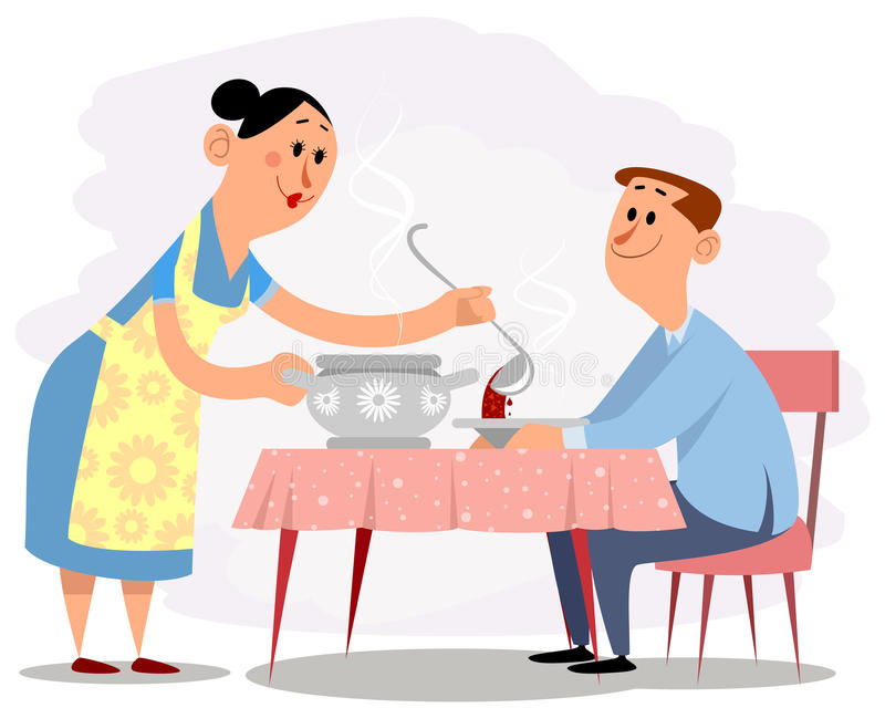 Vrouw en echtgenoot royalty-vrije illustratie
