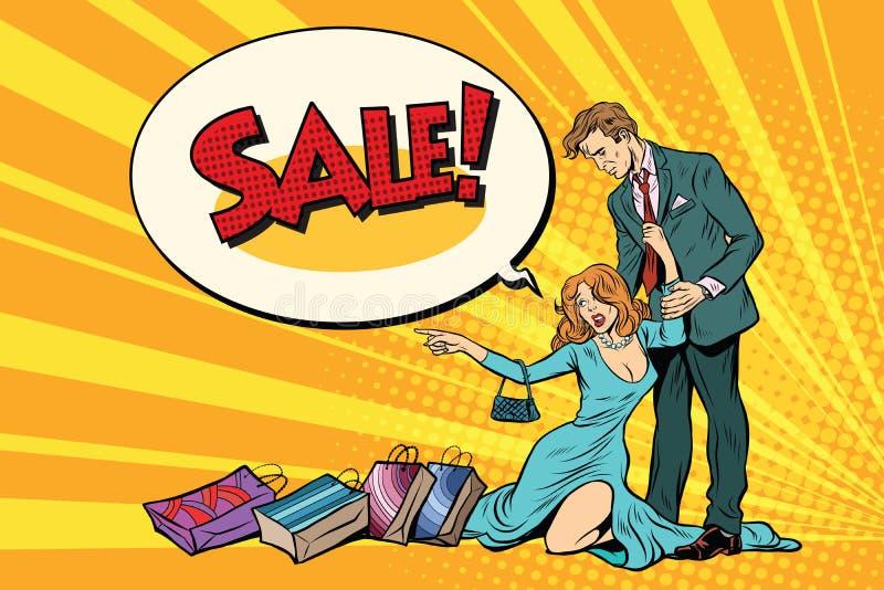 Vrouw en echtgenoot op verkoop stock illustratie