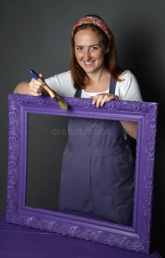 Vrouw en frame royalty-vrije stock afbeeldingen