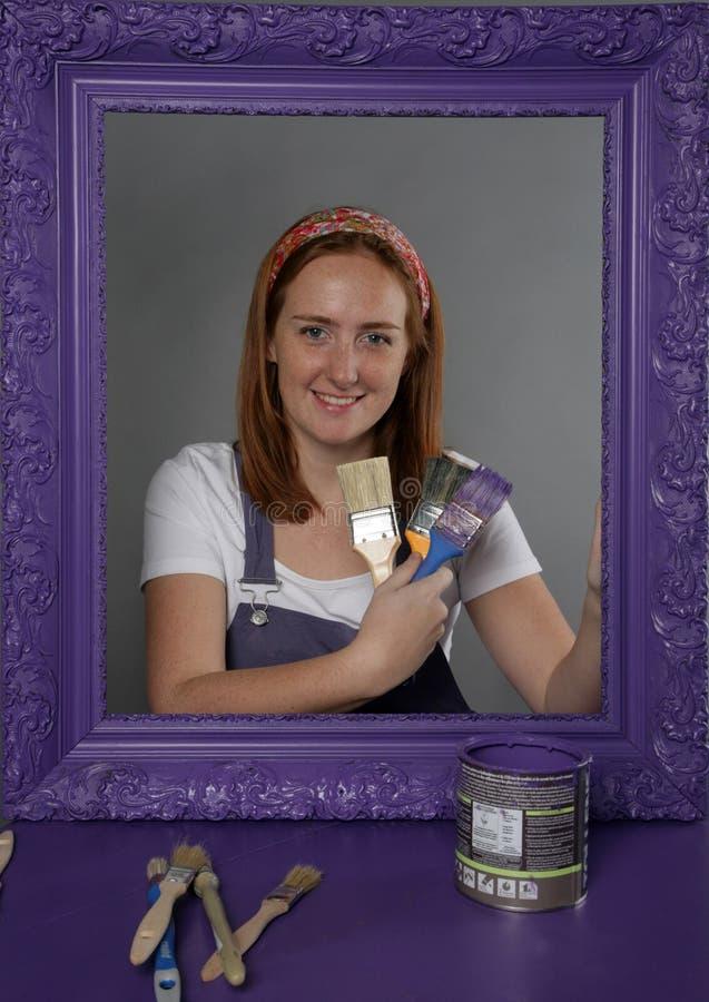 Vrouw en frame stock afbeelding