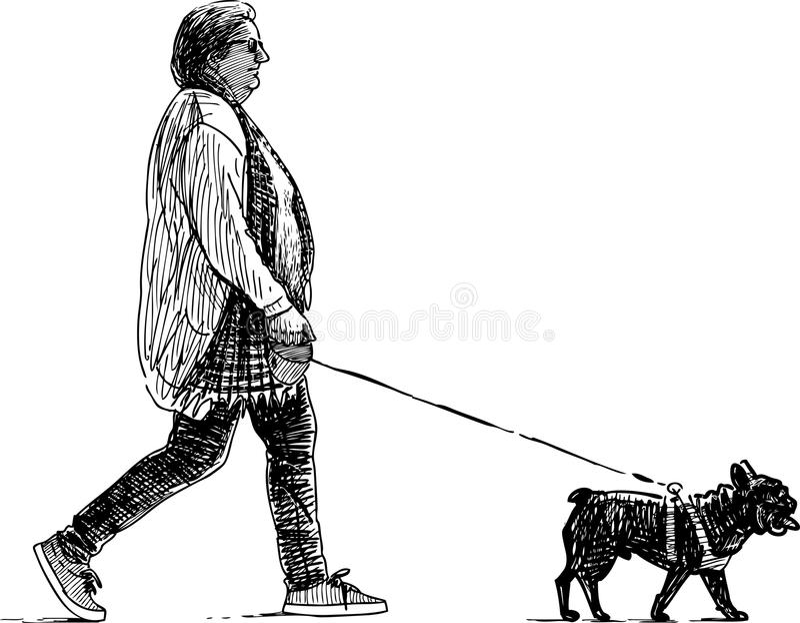 Vrouw en haar hond vector illustratie