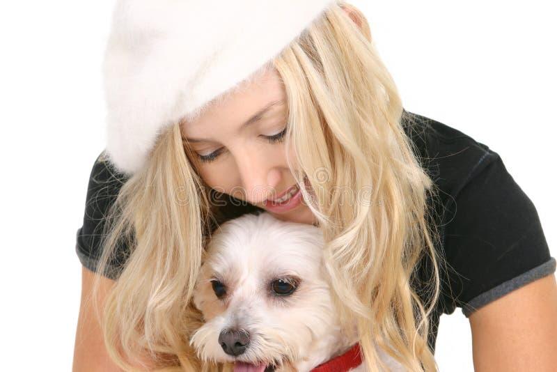 Vrouw en hond stock foto