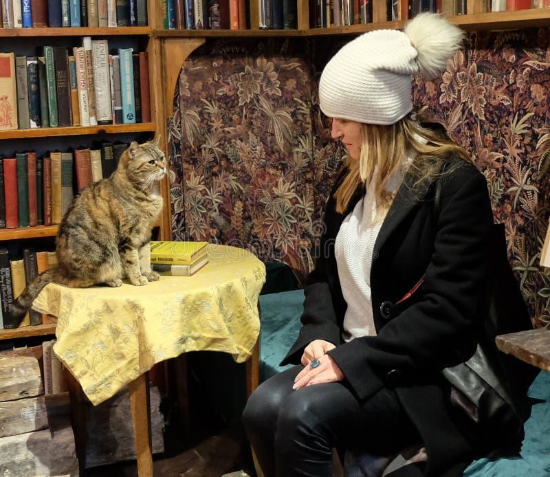 Vrouw en kattenzitting voor plankenhoogtepunt van oude boeken Shakespeare & Bedrijf, Parijs, Frankrijk royalty-vrije stock foto