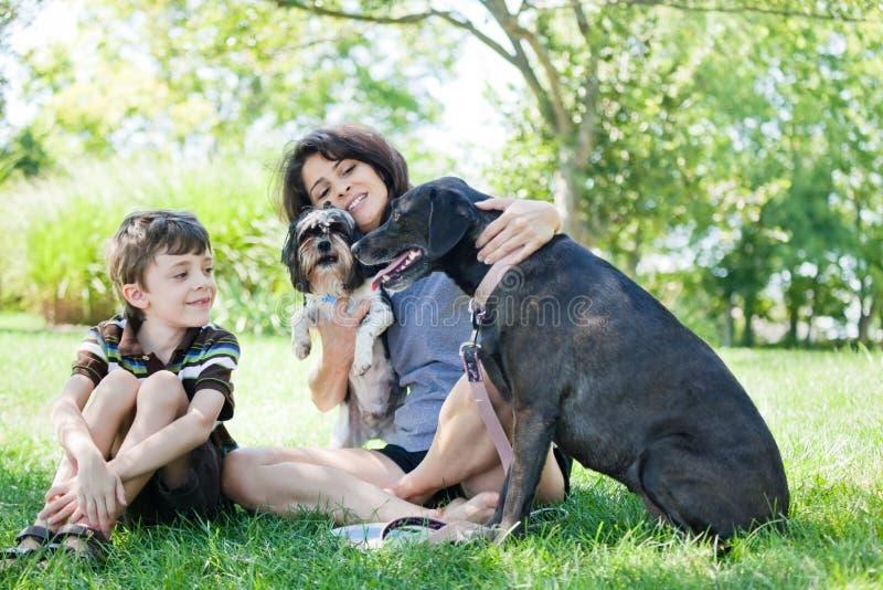 Vrouw en kind met honden royalty-vrije stock afbeeldingen