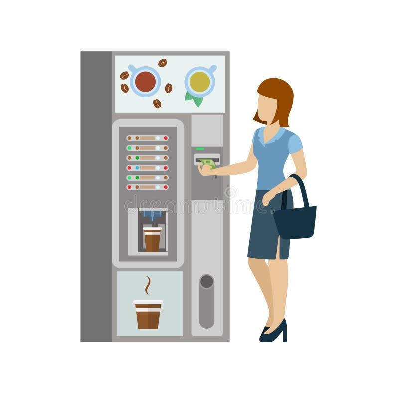 Vrouw en koffie automatische machine in vector vlakke koffiepauze royalty-vrije illustratie