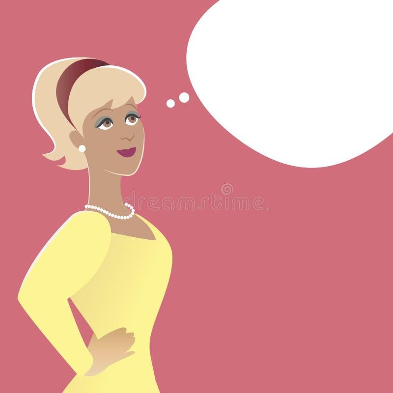 Vrouw en lege het denken ballon Beeldverhaal retro stijl royalty-vrije illustratie