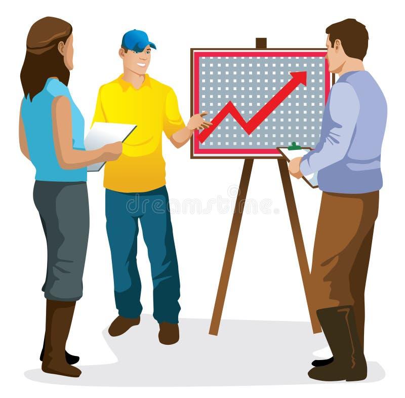 Vrouw en man de landbouwer geïsoleerde vectorillustratie van de statistiekpresentatie royalty-vrije stock afbeeldingen