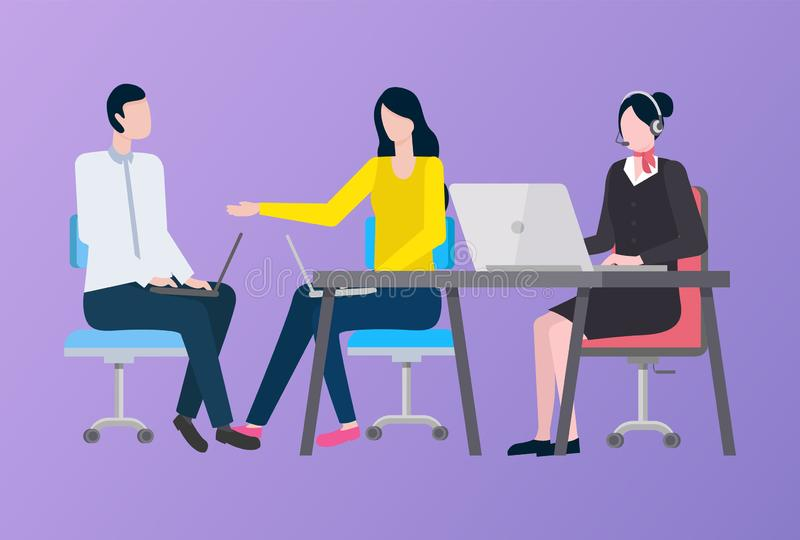 Vrouw en Man die aan Laptop, Bedrijfarbeider werken stock illustratie
