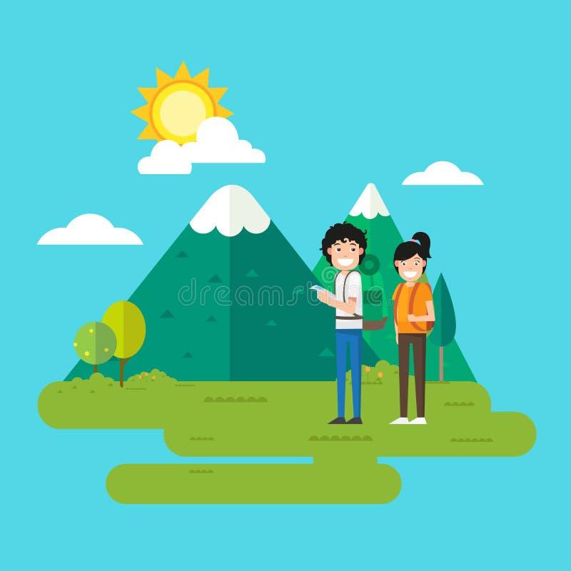 Vrouw en man die in het bos lopen vector illustratie