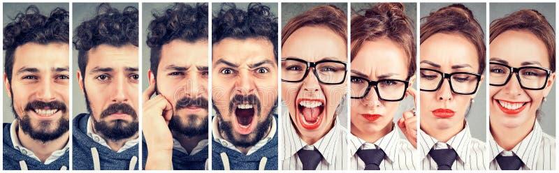 Vrouw en man die verschillende emoties uiten stock foto's