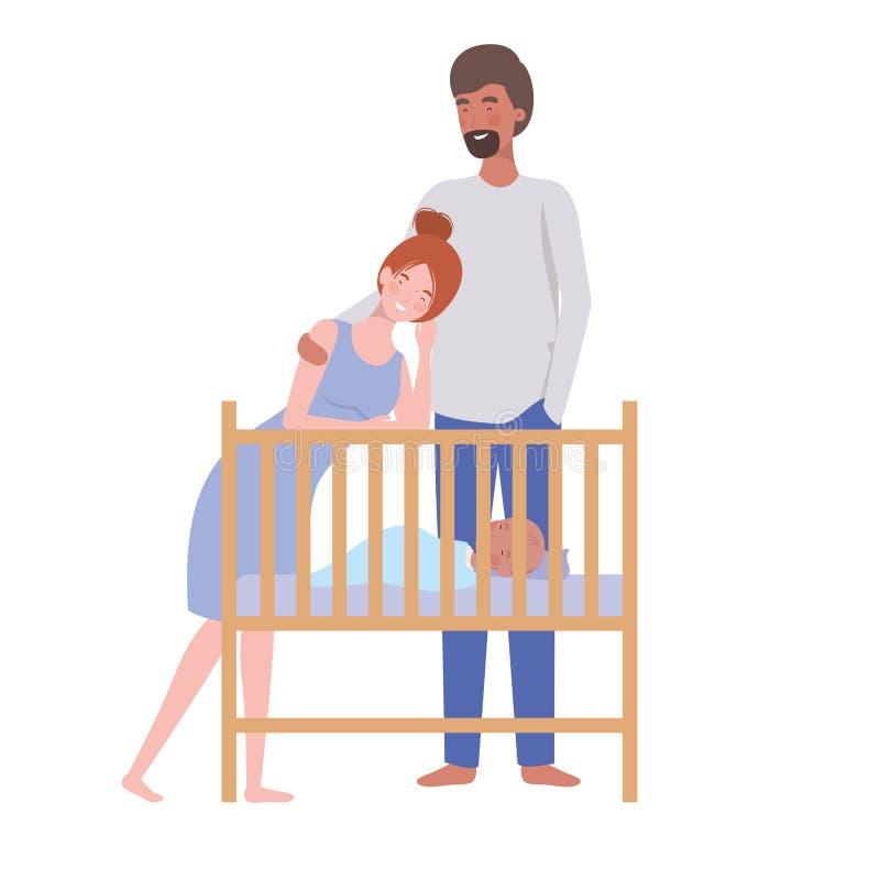 Vrouw en man met pasgeboren baby in de voederbak vector illustratie
