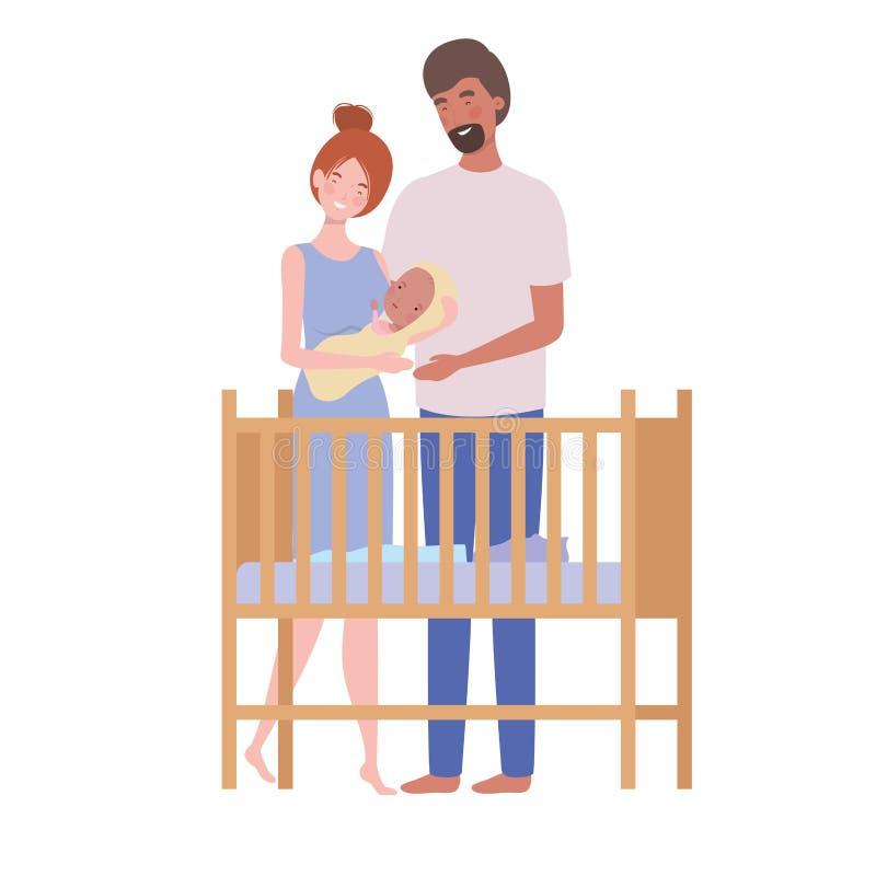 Vrouw en man met pasgeboren baby in de voederbak royalty-vrije illustratie