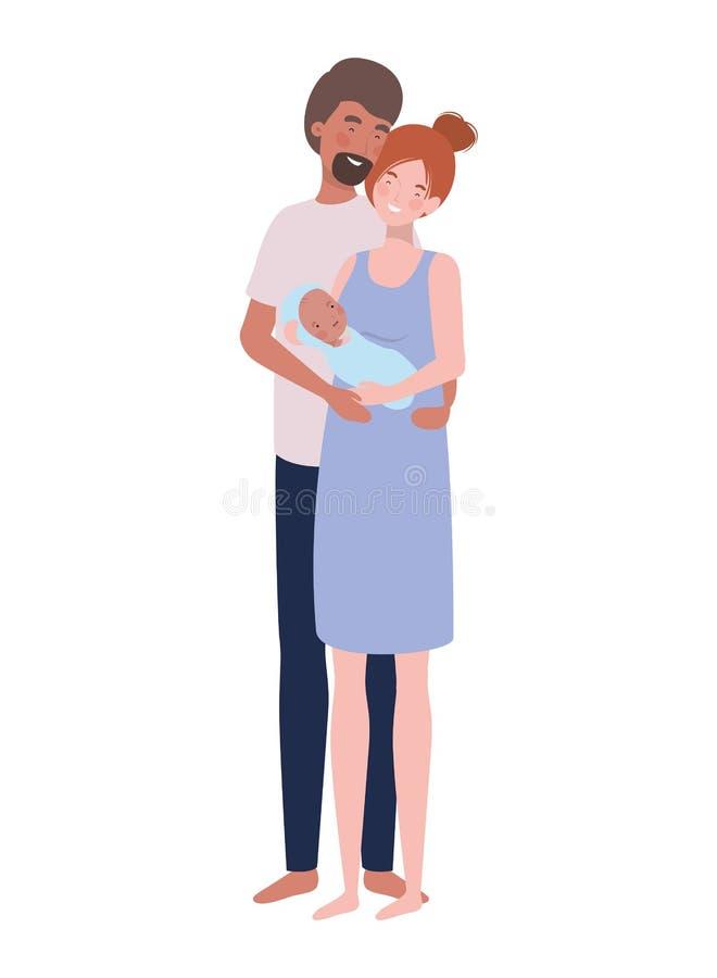 Vrouw en man met pasgeboren baby royalty-vrije illustratie