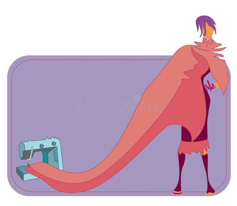 Vrouw en naaimachine vector illustratie