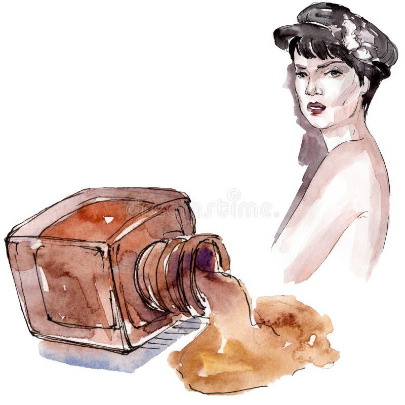 Vrouw en nailpolish schetsglamourillustratie in een waterverfstijl geïsoleerd element Watercolour achtergrondreeks vector illustratie