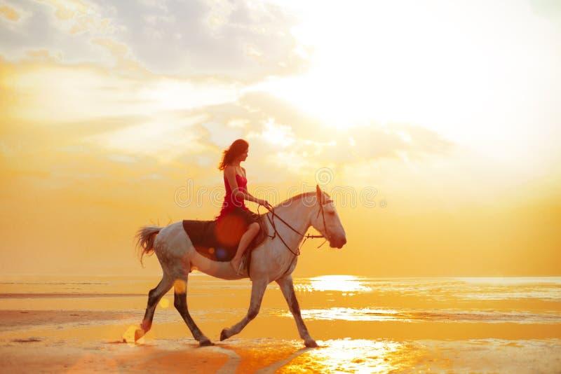 Vrouw en paard op de achtergrond van hemel en water Meisje modelo royalty-vrije stock afbeeldingen
