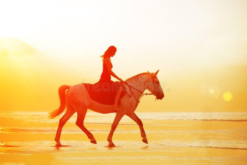 Vrouw en paard op de achtergrond van hemel en water Meisje modelo royalty-vrije stock afbeelding
