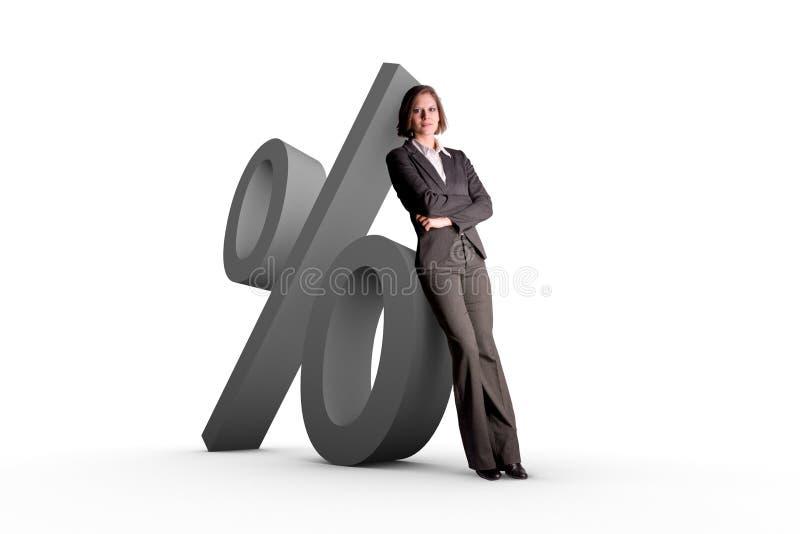 Vrouw en percentensymbool royalty-vrije stock foto's