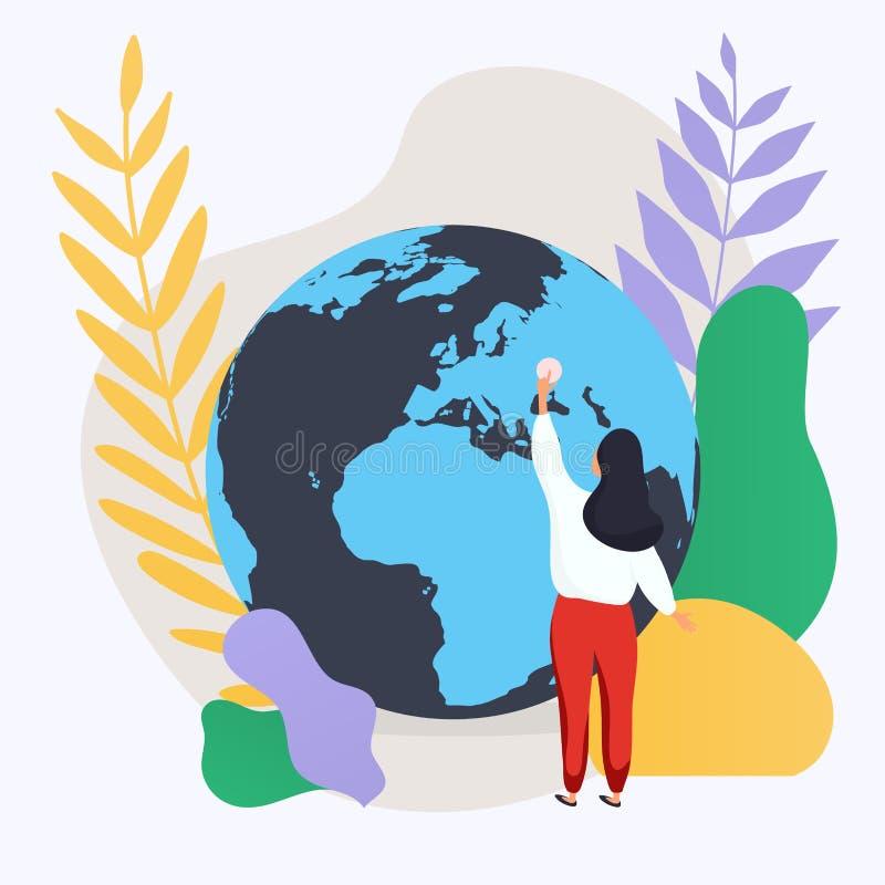 Vrouw en planeet Sociaal netwerk en groepswerkconcept voor Web binnen royalty-vrije illustratie