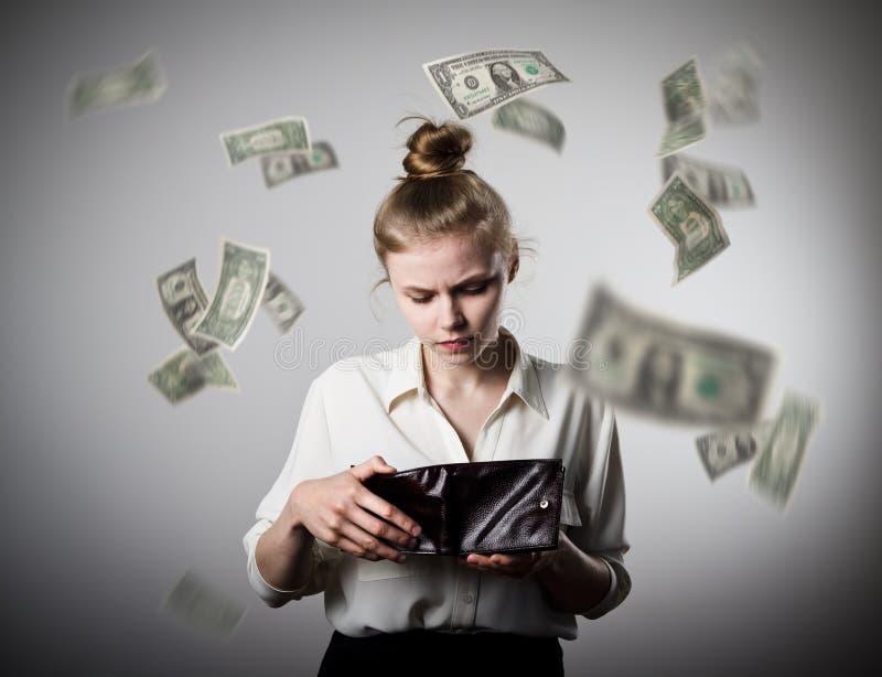 Vrouw en portefeuille Dollars stock afbeelding
