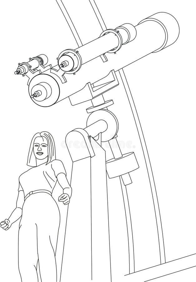 Vrouw en telescoop stock illustratie