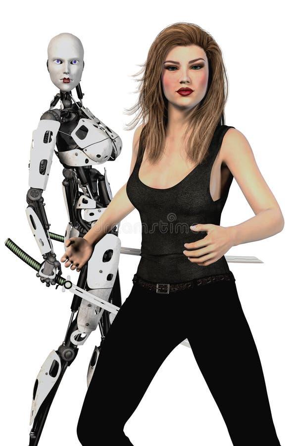 Vrouw en Vrouwelijke Robot met Katana Swords Isolated vector illustratie