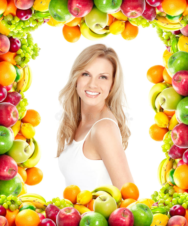 Vrouw en vruchten royalty-vrije stock foto