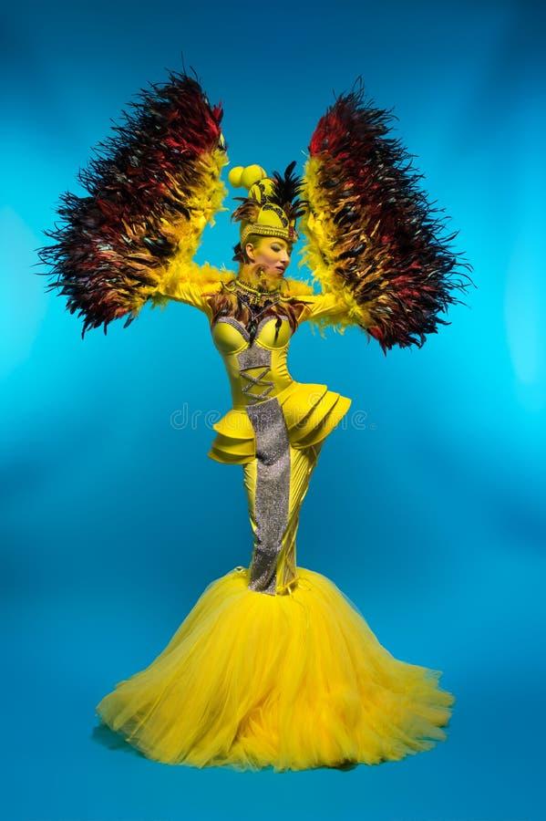 Vrouw in fantasiekostuum met veerkokers stock afbeeldingen