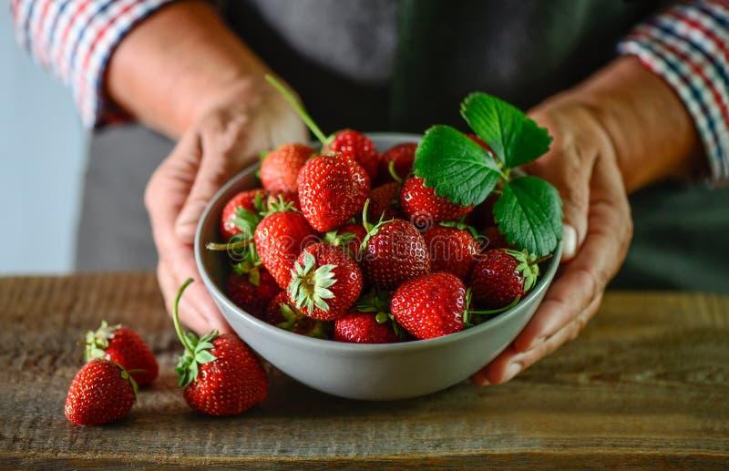 Vrouw farmer& x27; s de handen houden een komhoogtepunt van verse strawberr stock foto