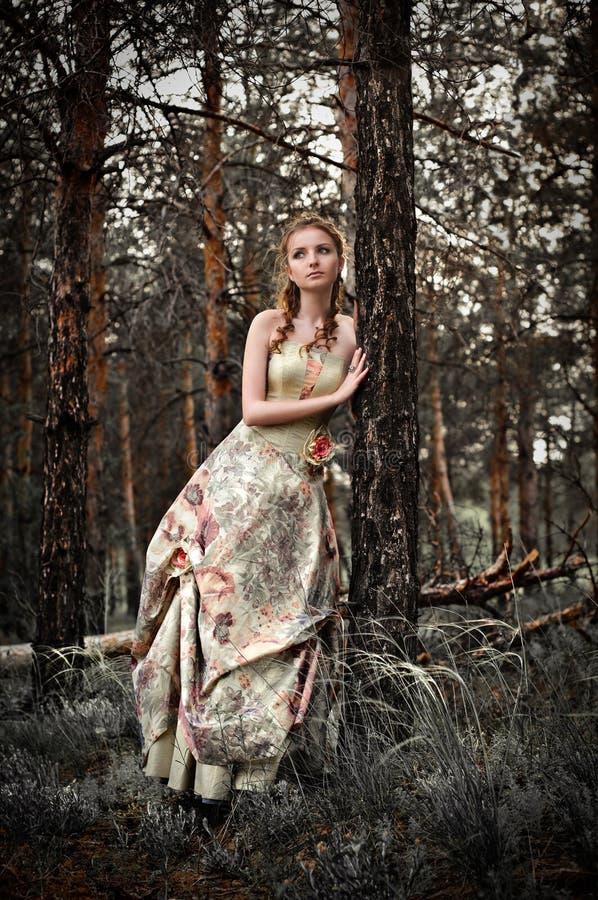 Vrouw in feebos royalty-vrije stock afbeelding