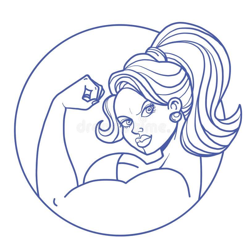 Vrouw fietst bodybuilding vector illustratie