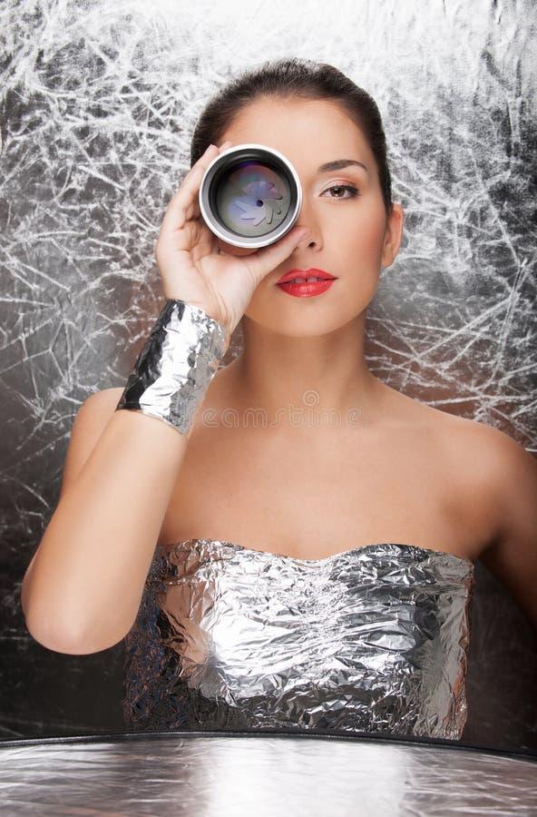 Vrouw in folieslijtage. royalty-vrije stock afbeeldingen