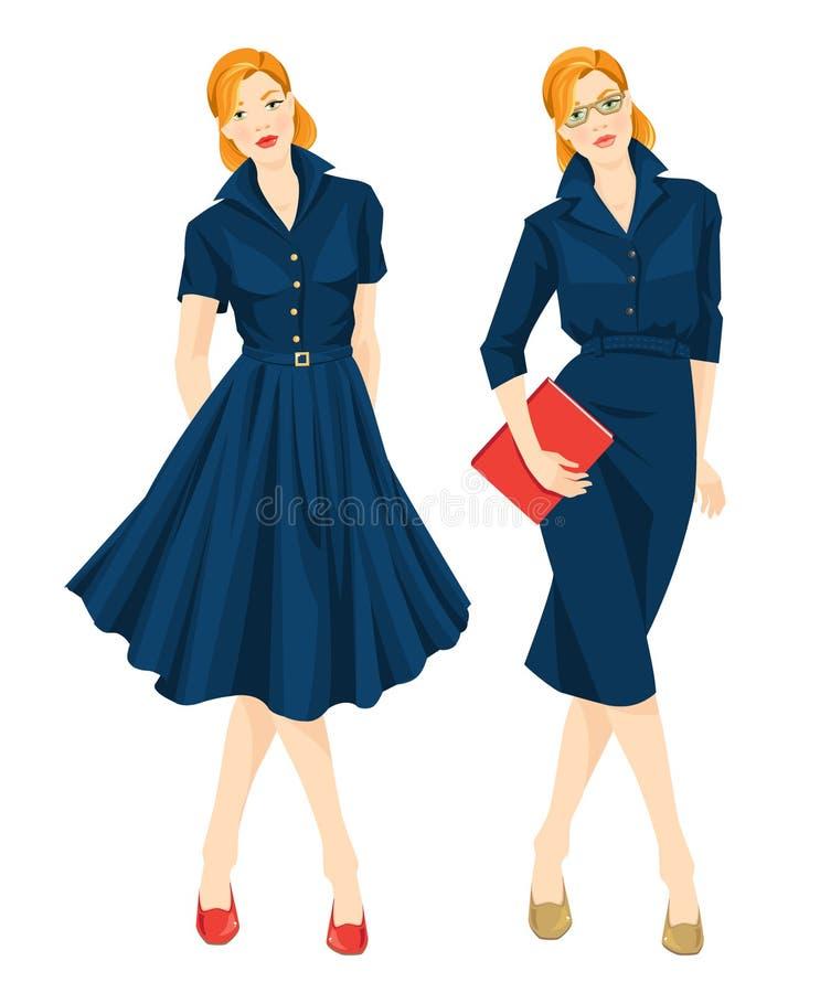 Vrouw in formele blauwe kleding en elegante blauwe kleding voor vakantie royalty-vrije illustratie