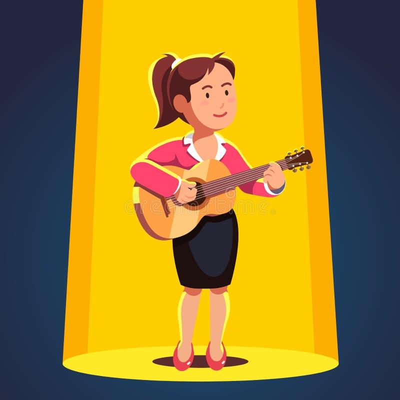 Vrouw in formele kleding het spelen gitaar en het zingen vector illustratie