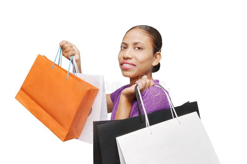 vrouw geïsoleerd winkelen royalty-vrije stock foto's